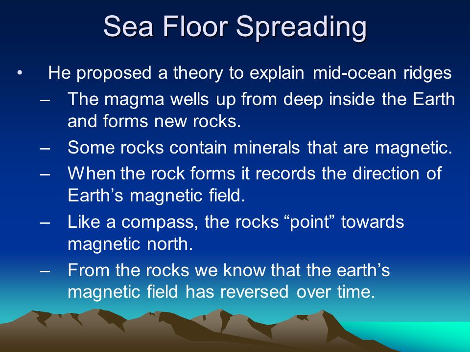 Sea Floor Spreading He Proposed A Theory To Explain Mid Ocean Ridges