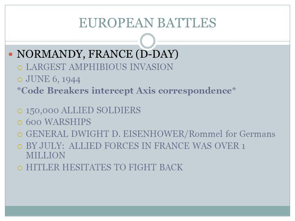 EUROPEAN BATTLES NORMANDY, FRANCE (D-DAY) LARGEST AMPHIBIOUS INVASION