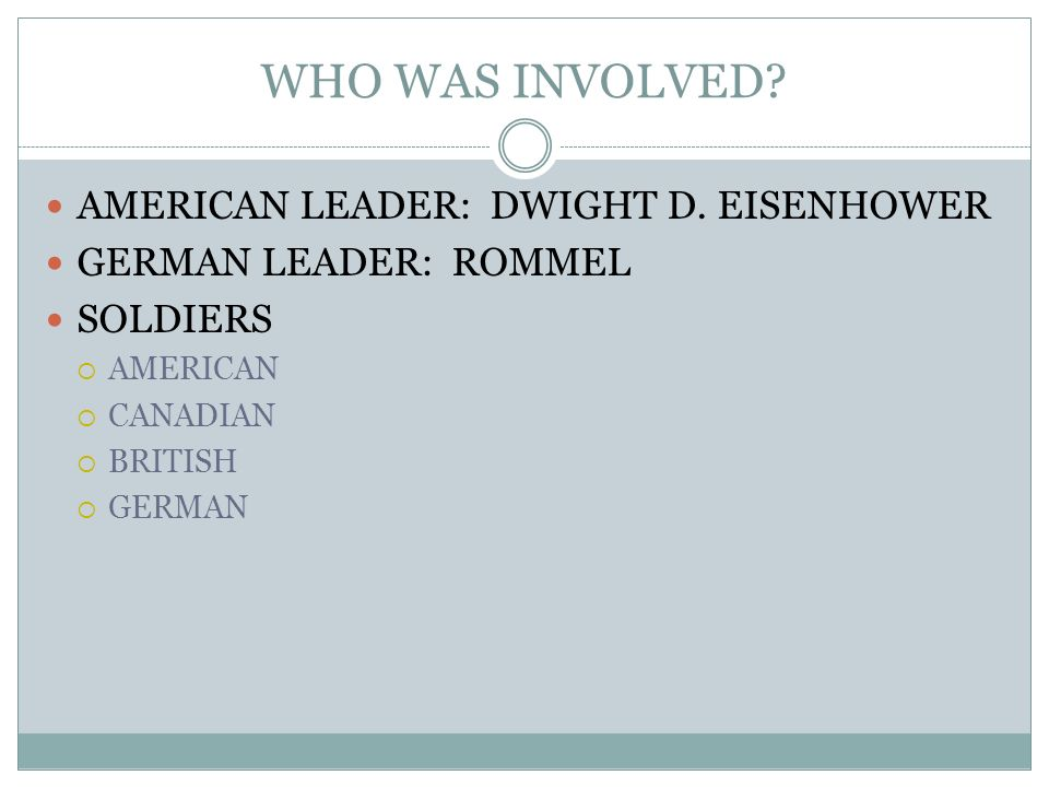 WHO WAS INVOLVED AMERICAN LEADER: DWIGHT D. EISENHOWER