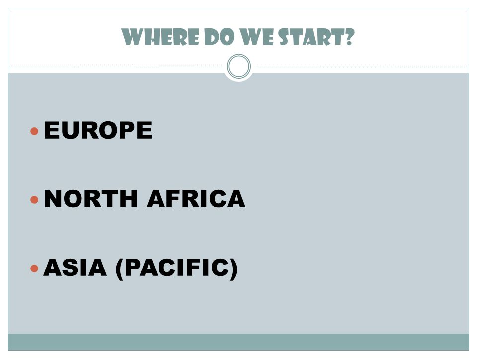 WHERE DO WE START EUROPE NORTH AFRICA ASIA (PACIFIC)