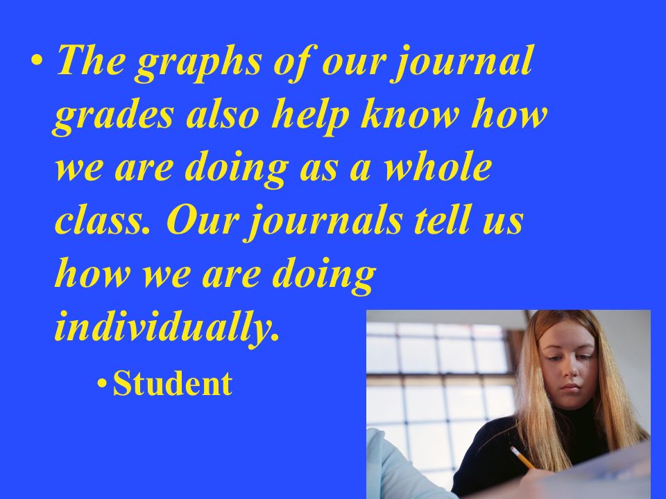 The graphs of our journal grades also help know how we are doing as a whole class. Our journals tell us how we are doing individually.