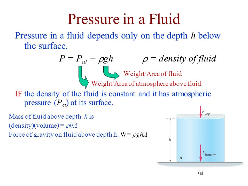 Pressure in a Fluid Pressure in a fluid depends only on the depth h below the surface. P = Pat + rgh r = density of fluid.