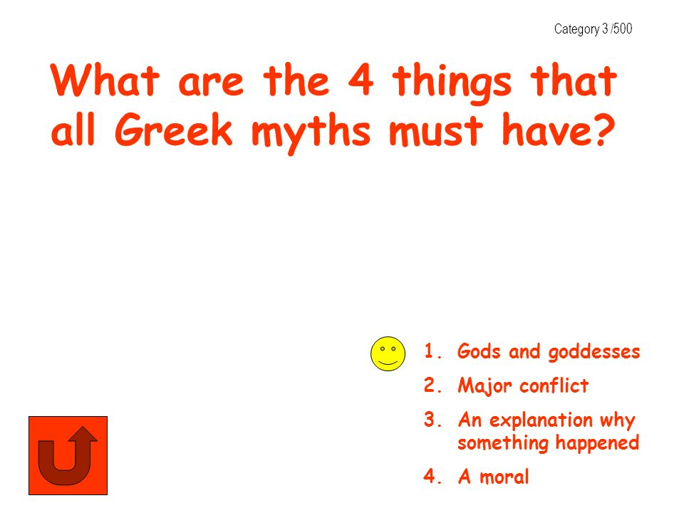What are the 4 things that all Greek myths must have