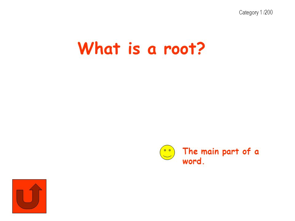 Category 1 /200 What is a root The main part of a word.