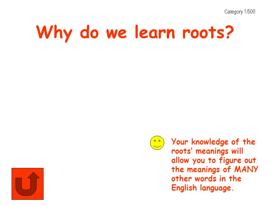 Category 1/500 Why do we learn roots