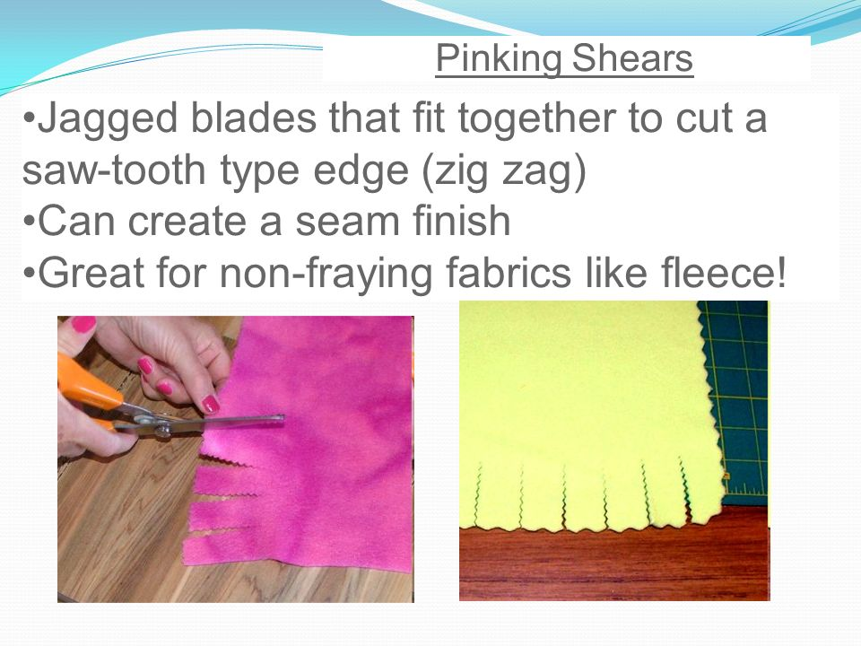 Jagged blades that fit together to cut a saw-tooth type edge (zig zag)
