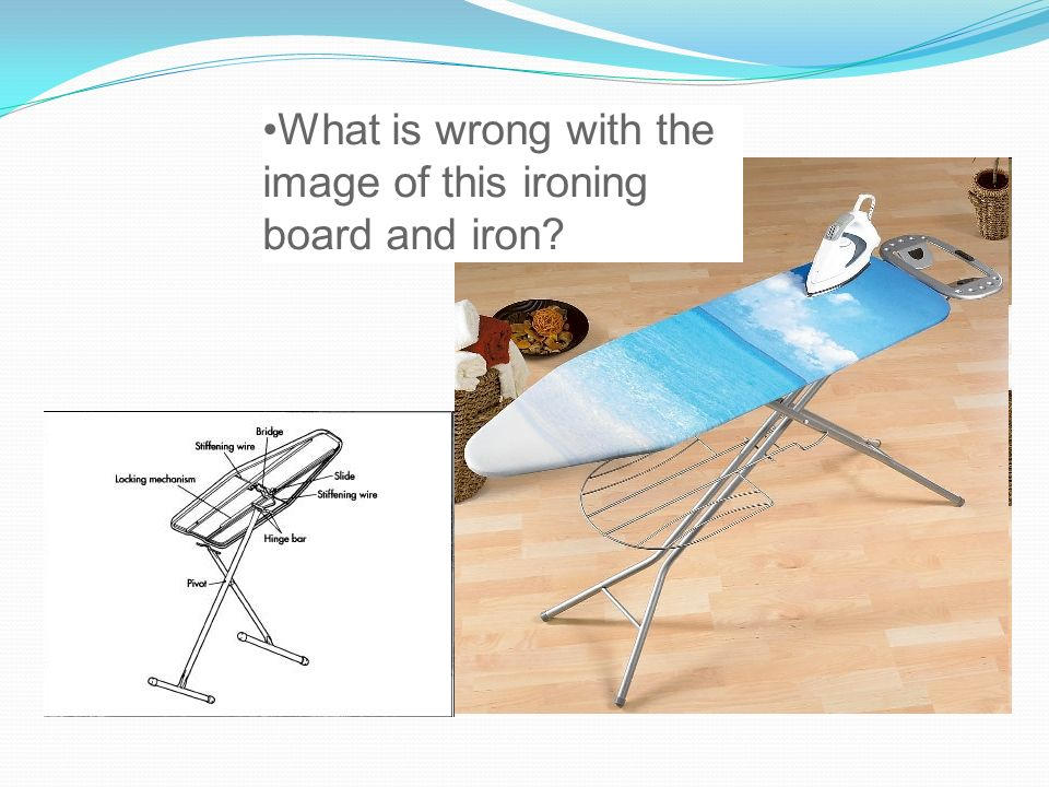 What is wrong with the image of this ironing board and iron