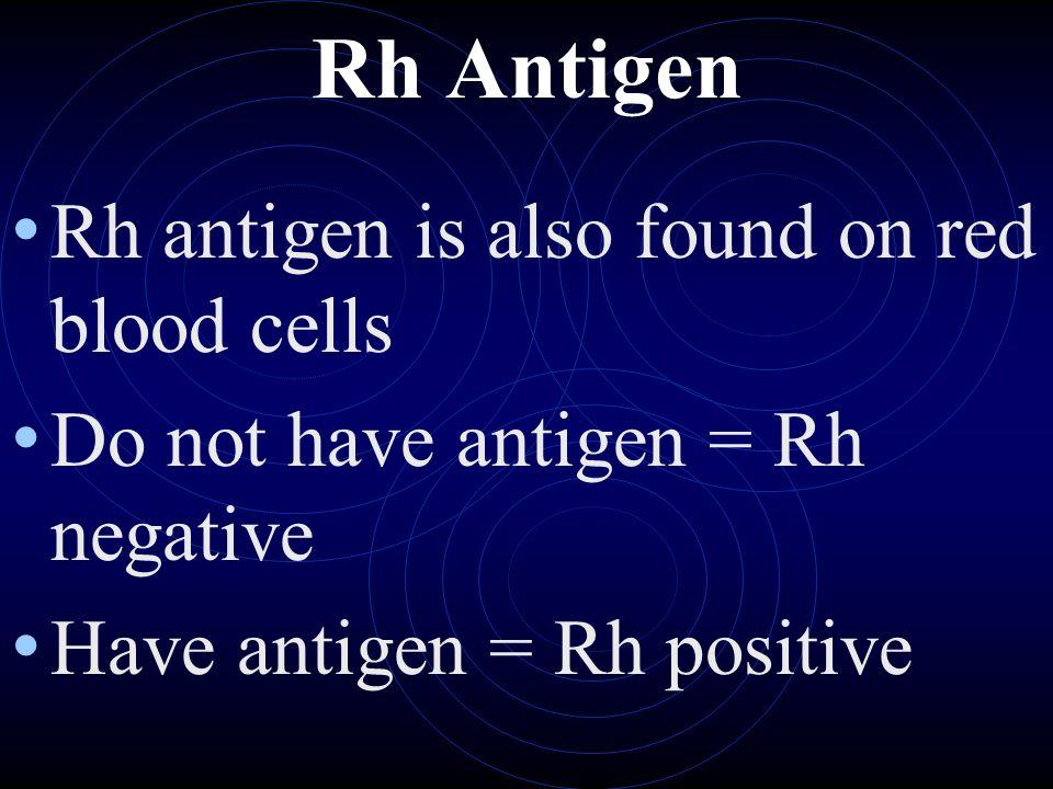 Rh Antigen Rh antigen is also found on red blood cells
