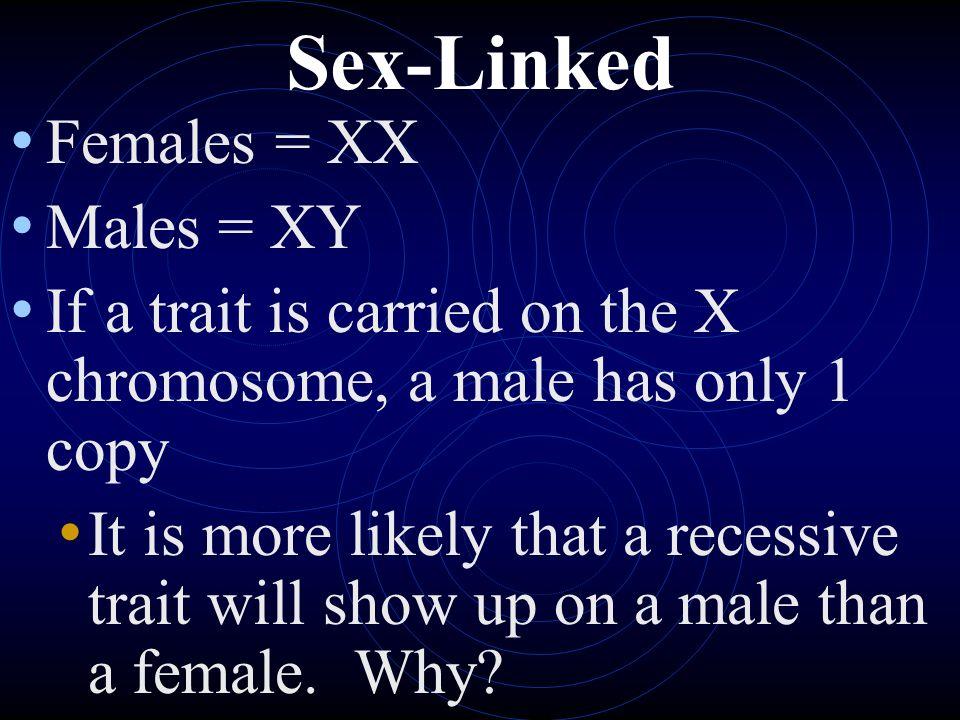 Sex-Linked Females = XX Males = XY