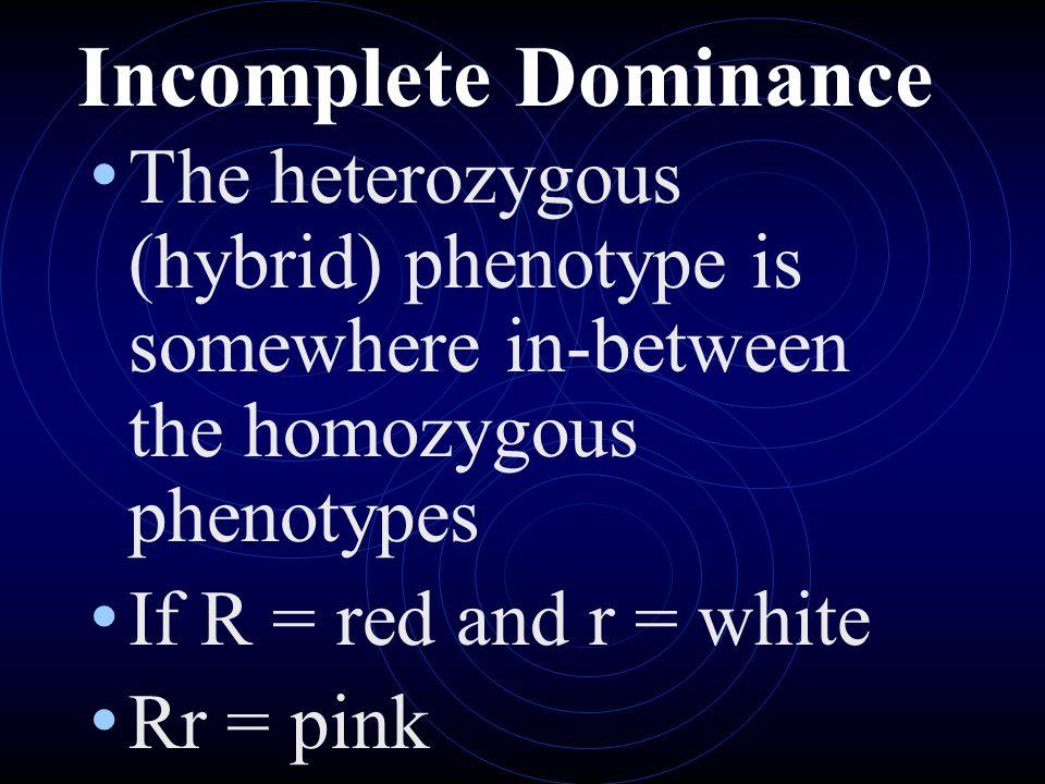 Incomplete Dominance The heterozygous (hybrid) phenotype is somewhere in-between the homozygous phenotypes.