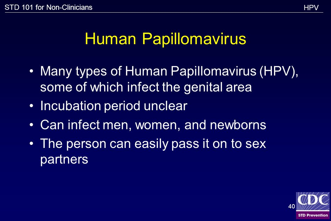 HPV Human Papillomavirus. Many types of Human Papillomavirus (HPV), some of which infect the genital area.