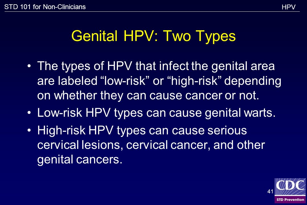 HPV Genital HPV: Two Types.