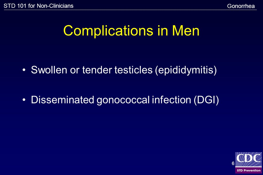 Complications in Men Swollen or tender testicles (epididymitis)