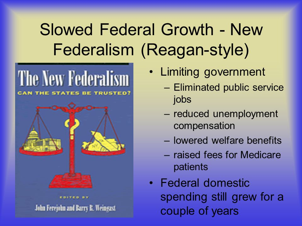 Slowed Federal Growth - New Federalism (Reagan-style)