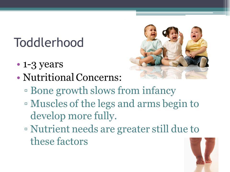 Toddlerhood 1-3 years Nutritional Concerns: