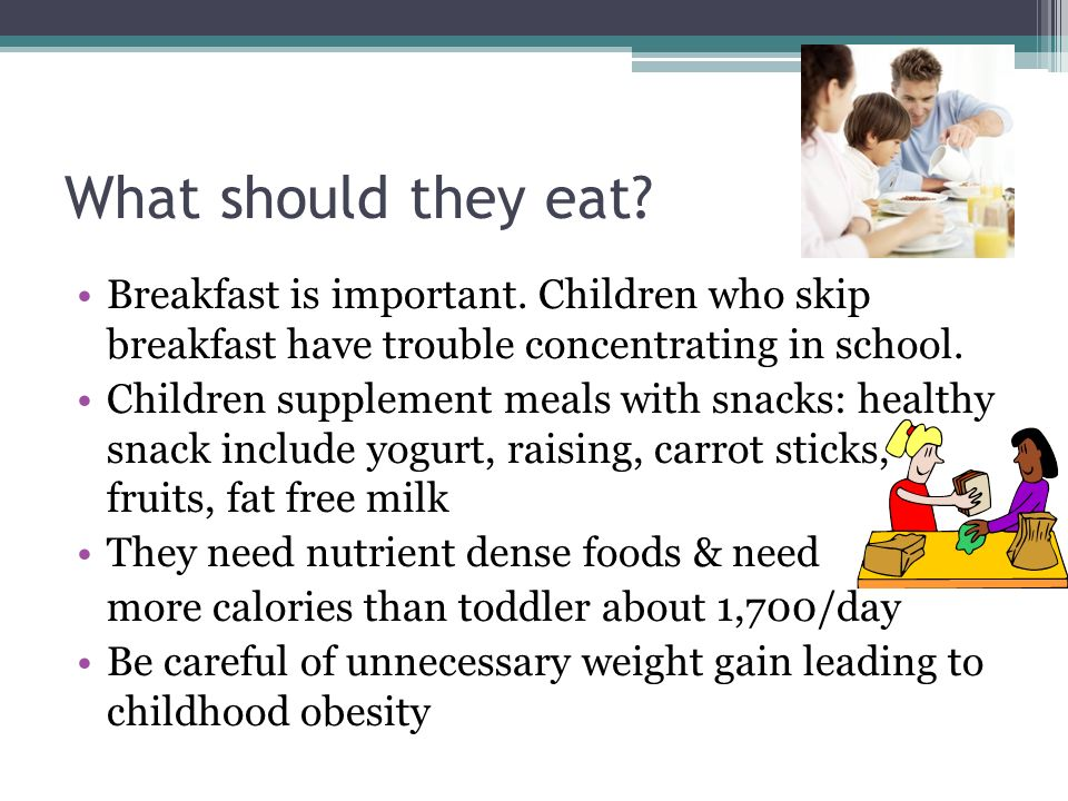 What should they eat Breakfast is important. Children who skip breakfast have trouble concentrating in school.