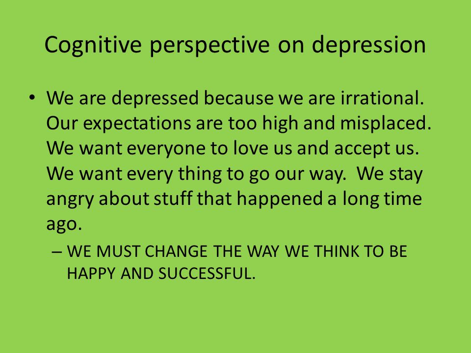 Cognitive perspective on depression