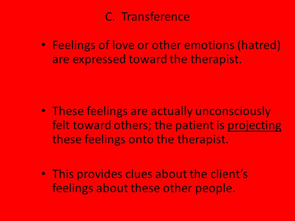 C. TransferenceFeelings of love or other emotions (hatred) are expressed toward the therapist.