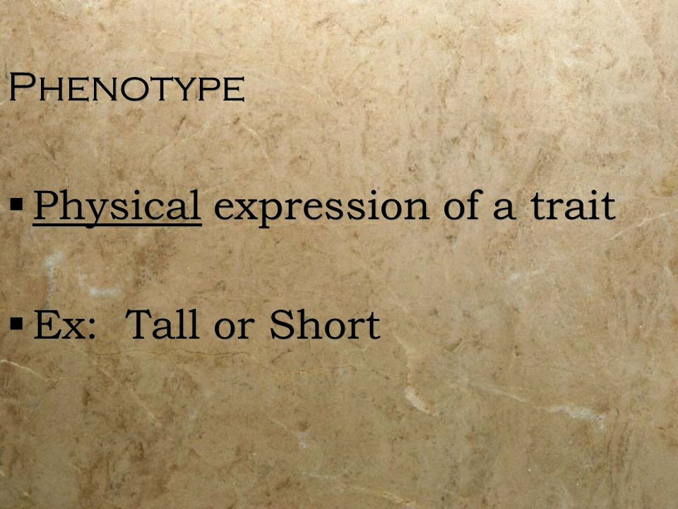 Phenotype Physical expression of a trait Ex: Tall or Short