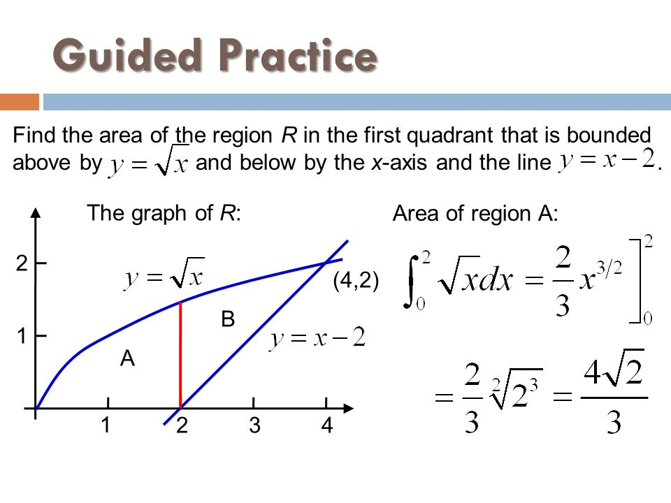 Guided Practice Find the area of the region R in the first quadrant that is bounded.