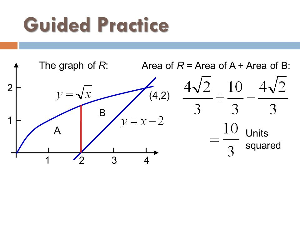 Guided Practice The graph of R: Area of R = Area of A + Area of B: 2