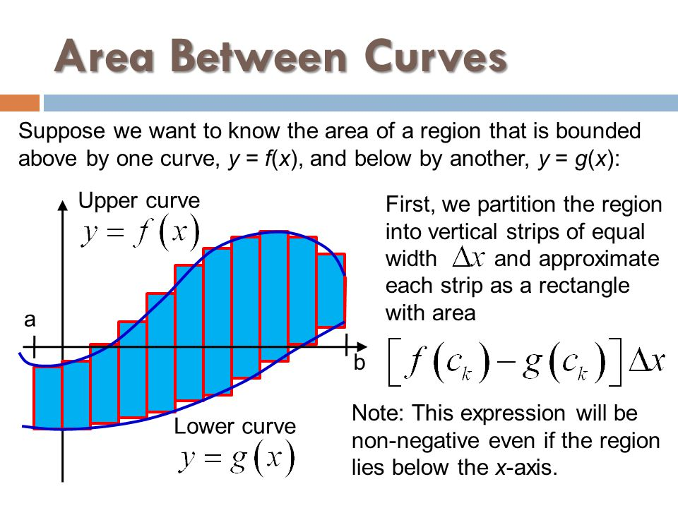 Area Between Curves Suppose we want to know the area of a region that is bounded. above by one curve, y = f(x), and below by another, y = g(x):