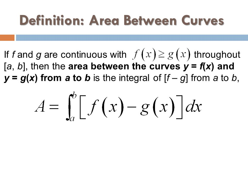 Definition: Area Between Curves