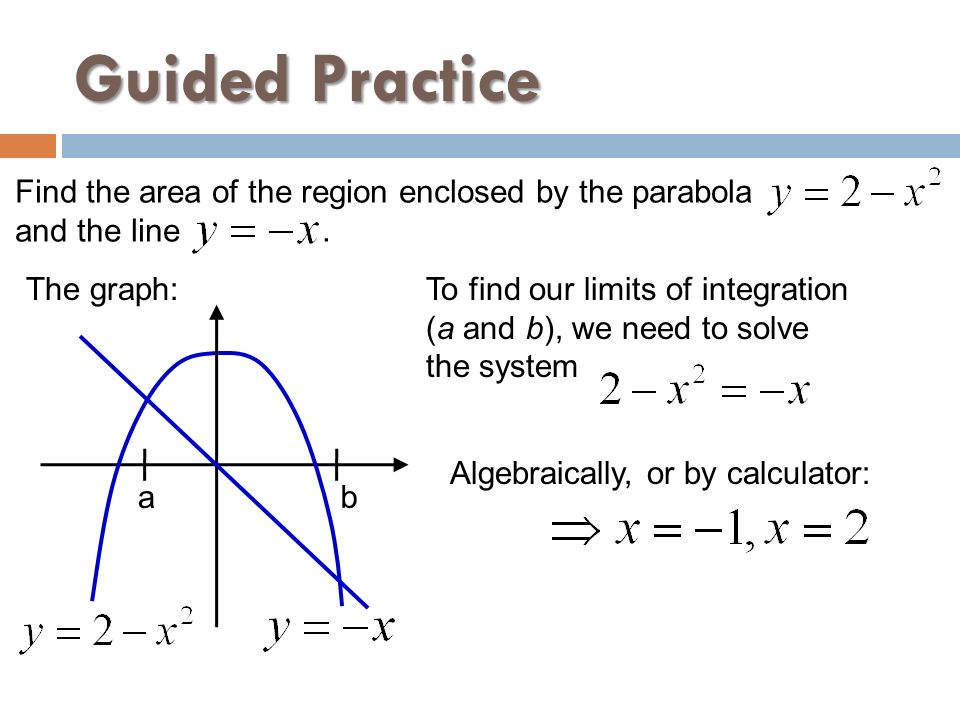 Guided Practice Find the area of the region enclosed by the parabola