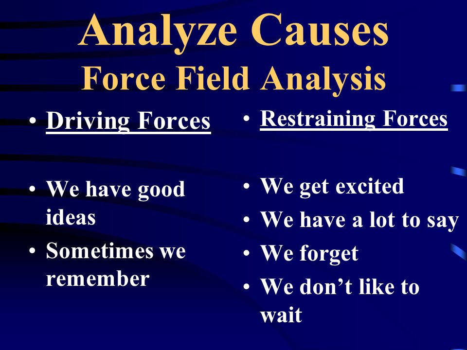 Analyze Causes Force Field Analysis