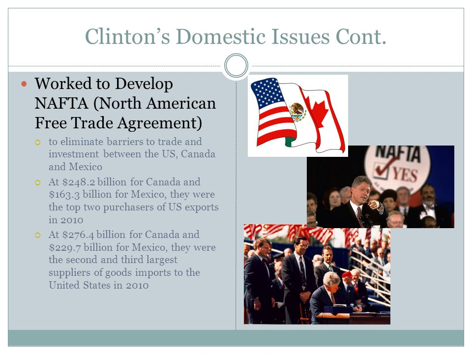 Clinton's Domestic Issues Cont.