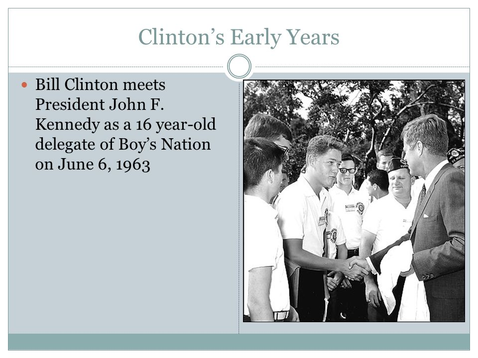 Clinton's Early Years Bill Clinton meets President John F.