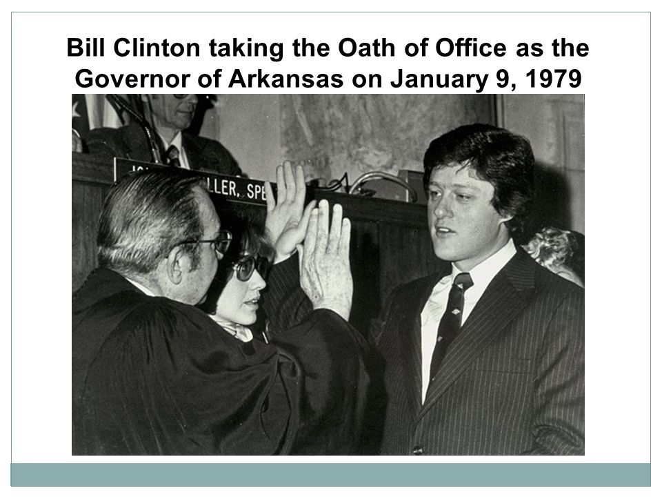 Bill Clinton taking the Oath of Office as the Governor of Arkansas on January 9, 1979