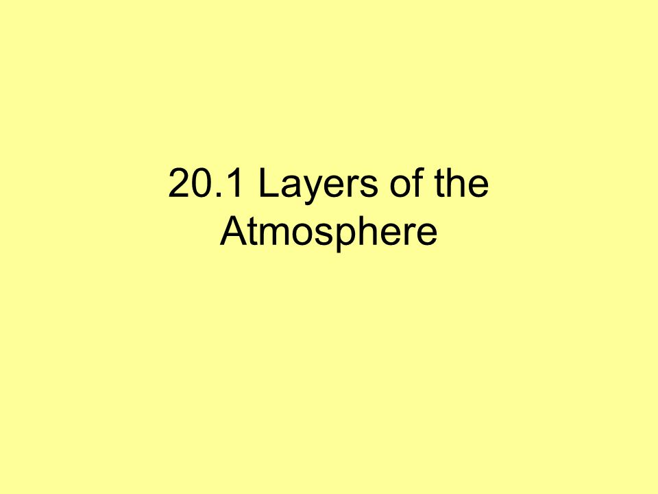 20.1 Layers of the Atmosphere