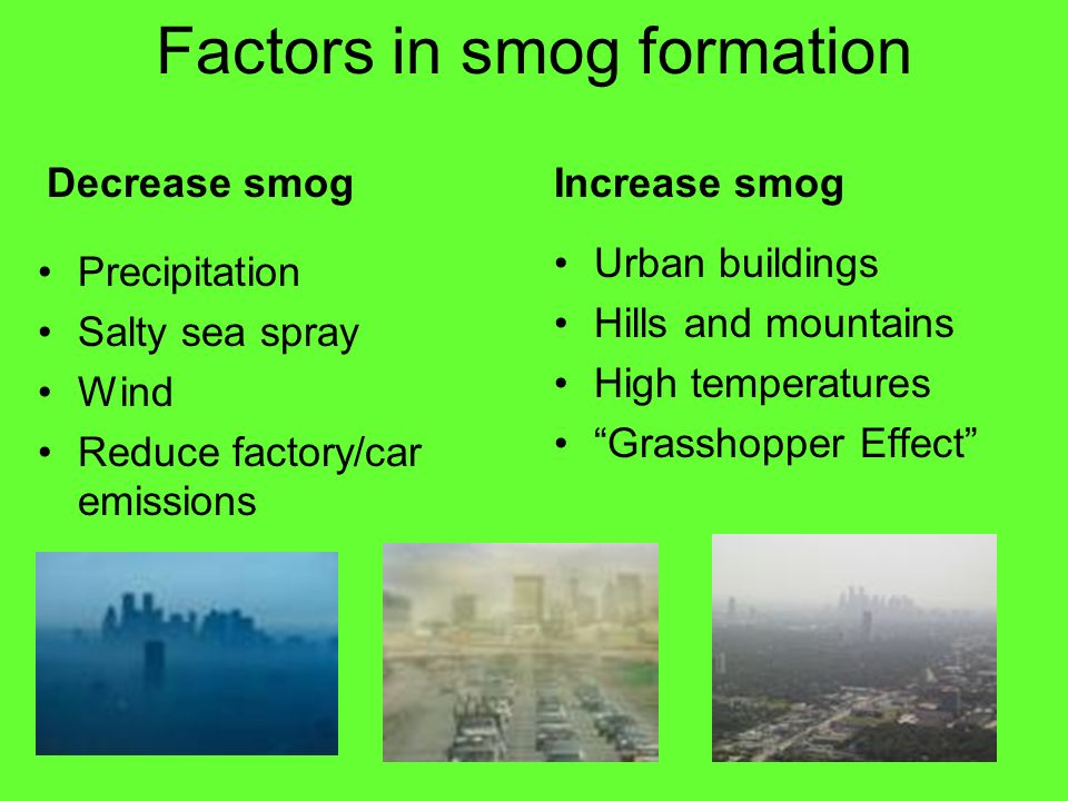 Factors in smog formation