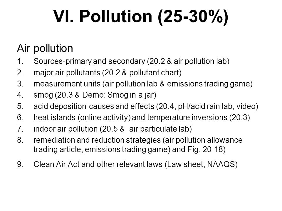 VI. Pollution (25-30%) Air pollution
