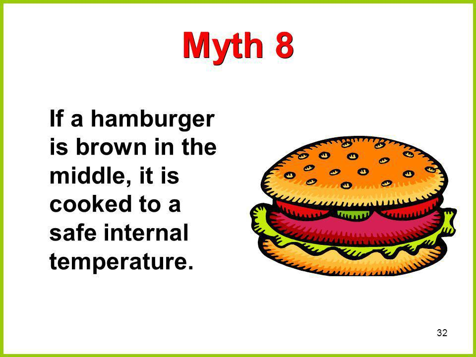 Myth 8 If a hamburger is brown in the middle, it is cooked to a safe internal temperature.