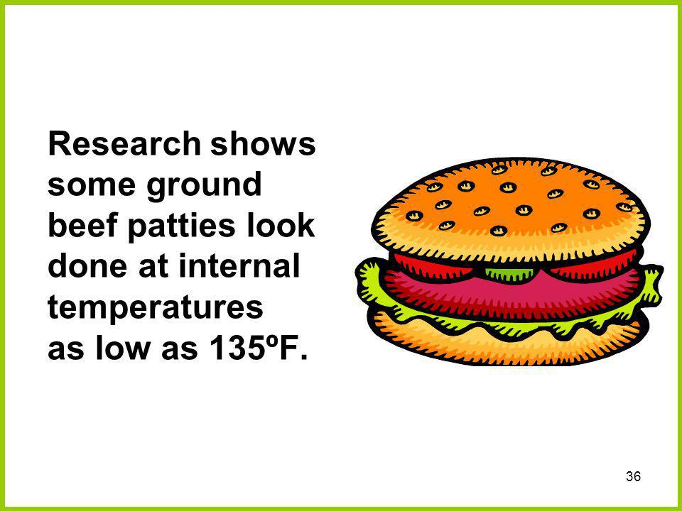 Research shows some ground beef patties look done at internal temperatures as low as 135ºF.