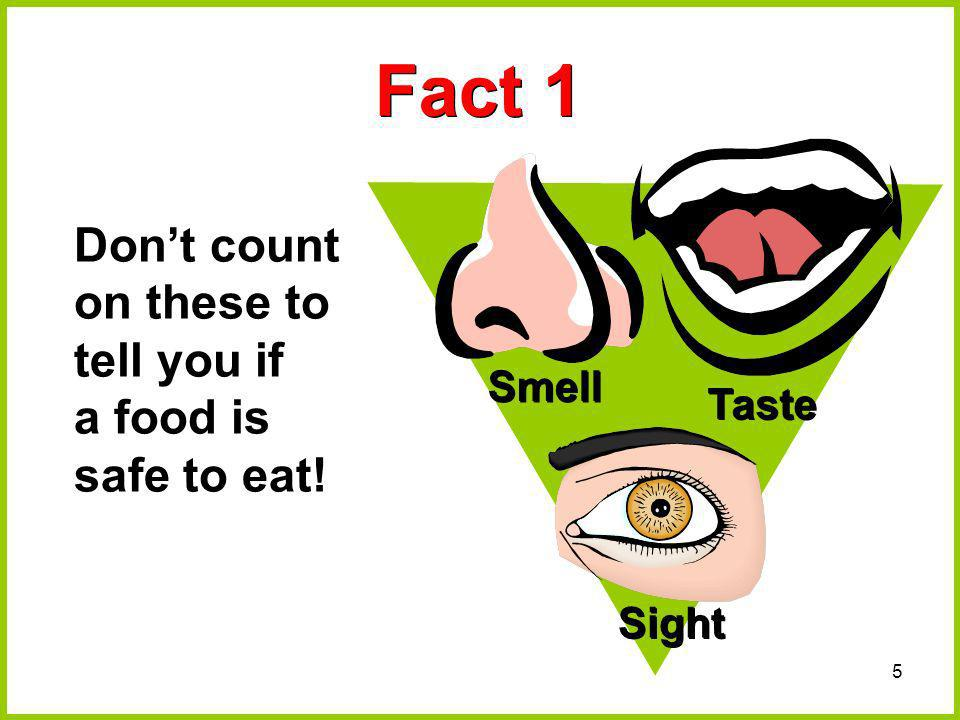 Fact 1 Don't count on these to tell you if a food is safe to eat!