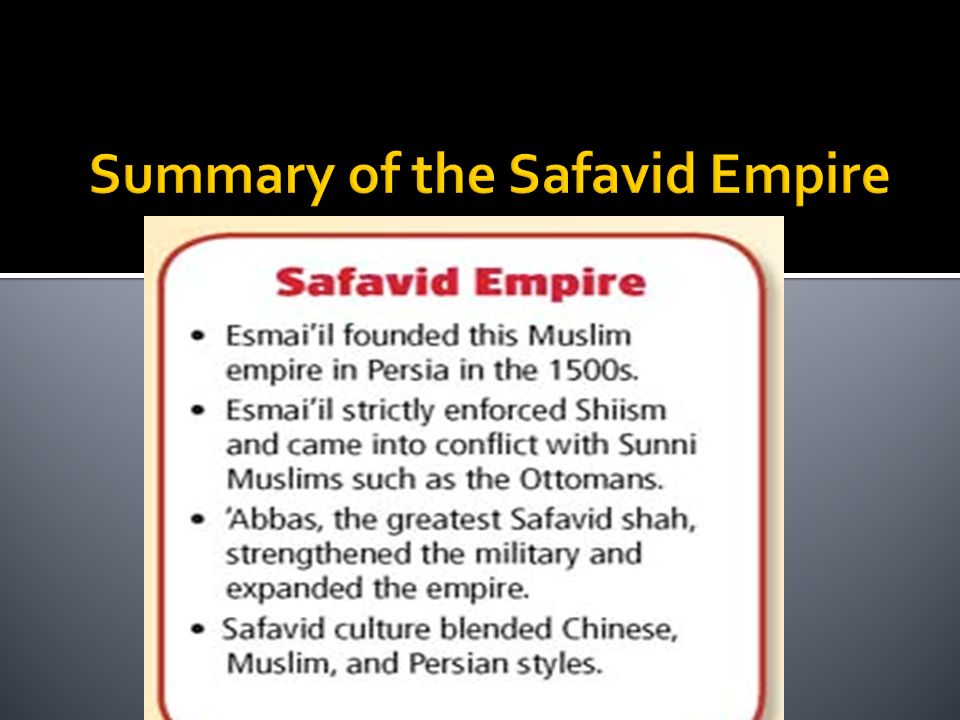 Summary of the Safavid Empire