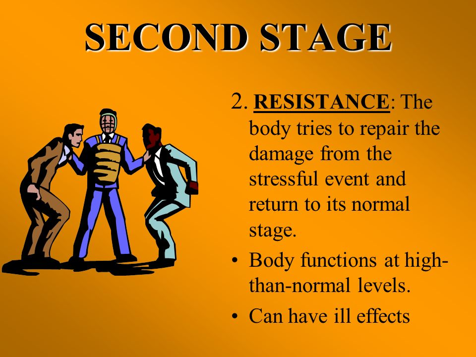 SECOND STAGE 2. RESISTANCE: The body tries to repair the damage from the stressful event and return to its normal stage.