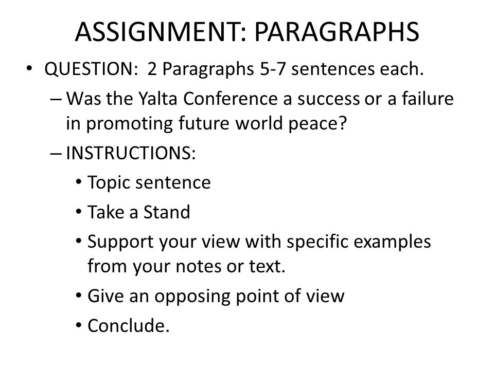 ASSIGNMENT: PARAGRAPHS
