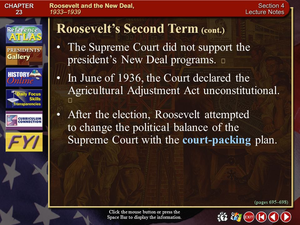 Roosevelt's Second Term (cont.)