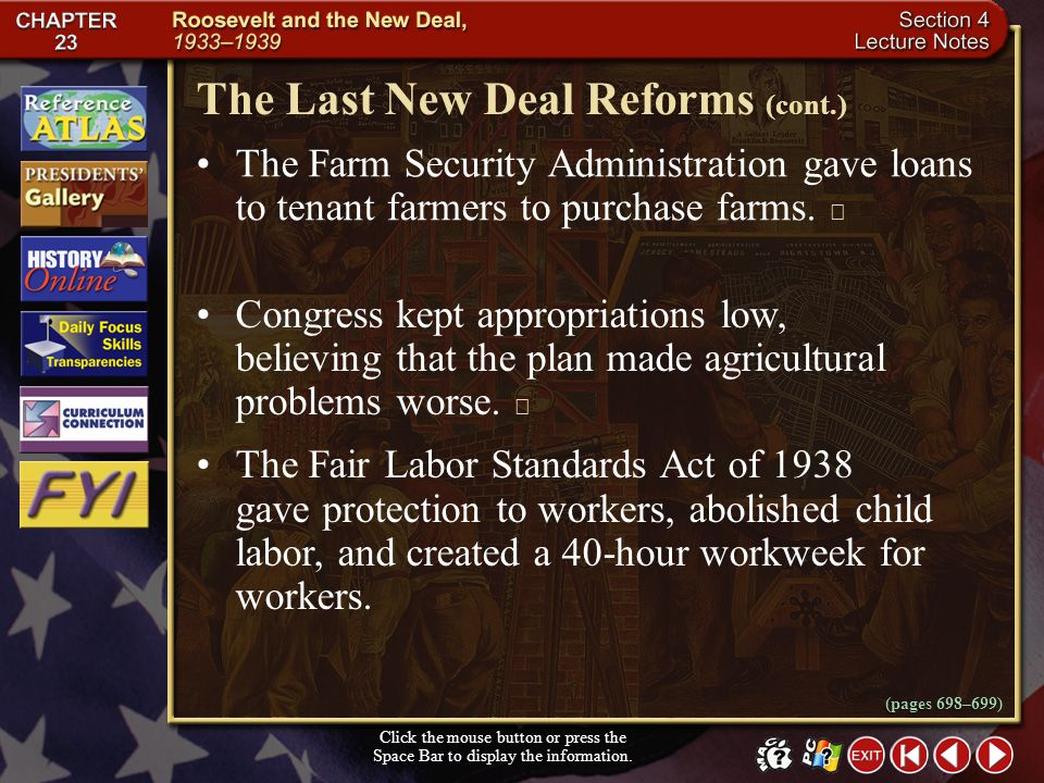 The Last New Deal Reforms (cont.)