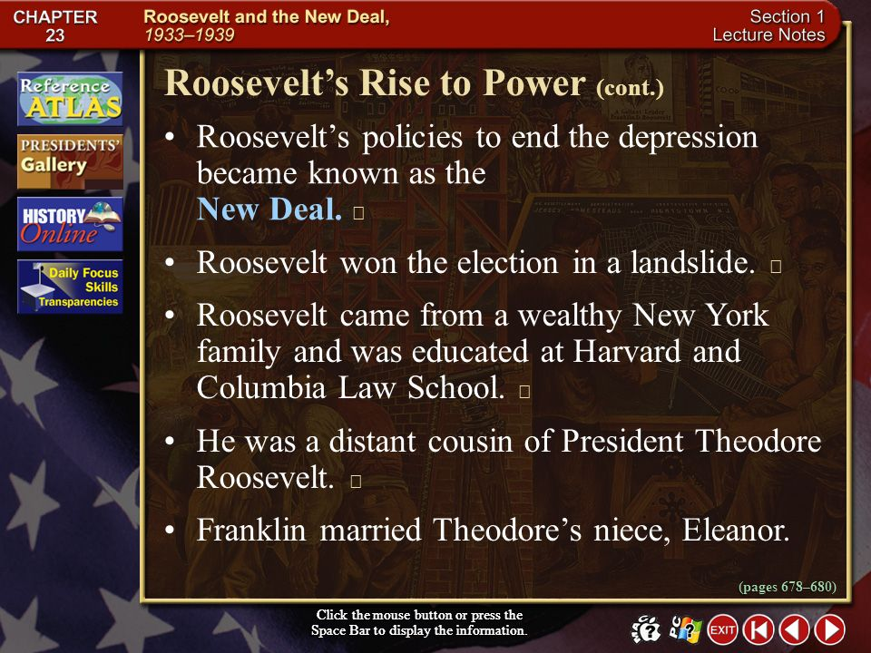 Roosevelt's Rise to Power (cont.)