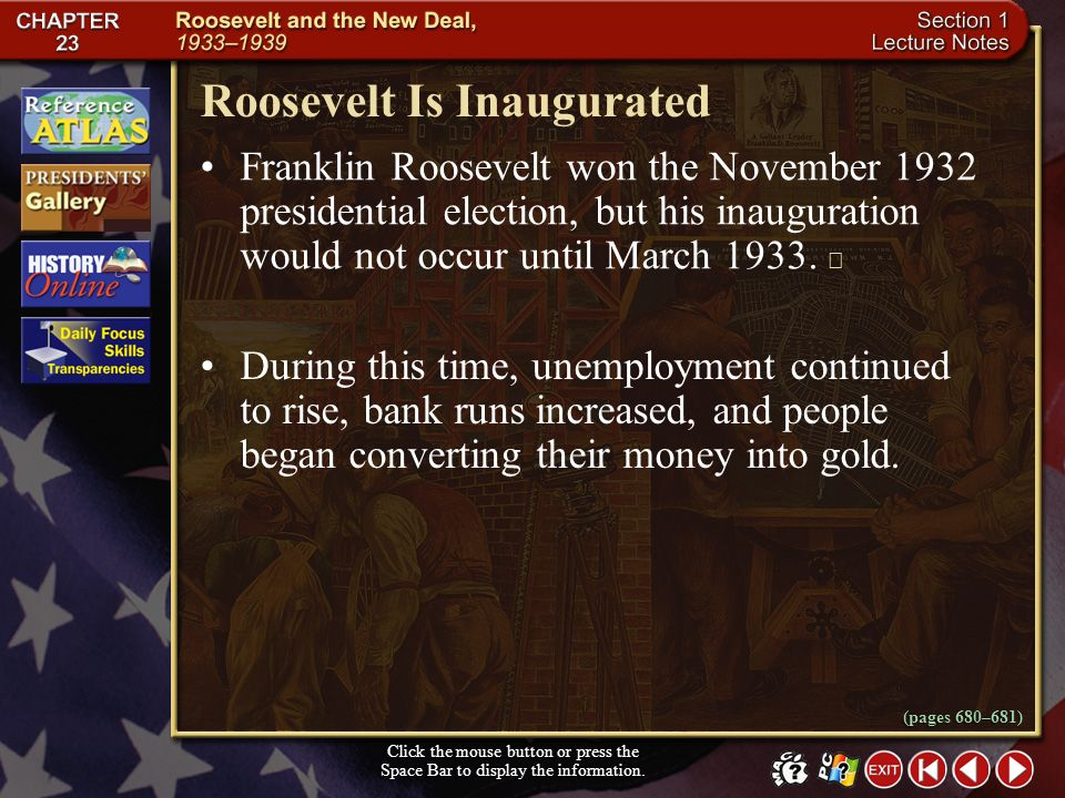 Roosevelt Is Inaugurated