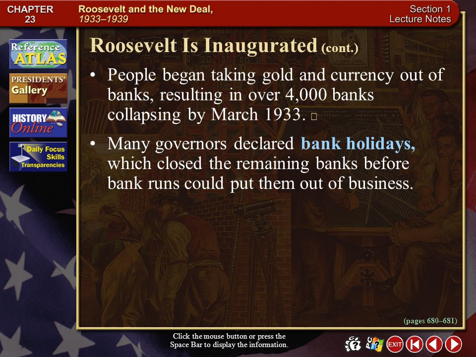 Roosevelt Is Inaugurated (cont.)
