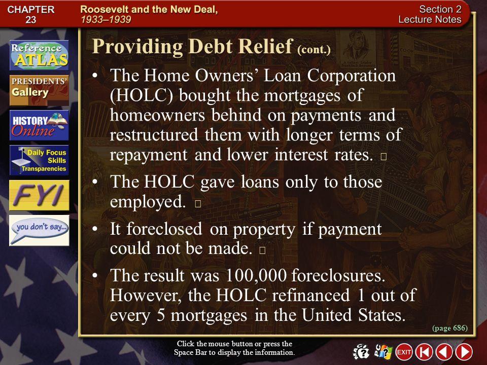 Providing Debt Relief (cont.)