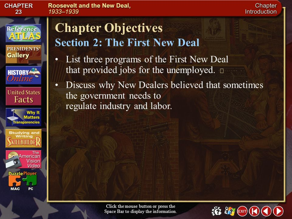 Chapter Objectives Section 2: The First New Deal