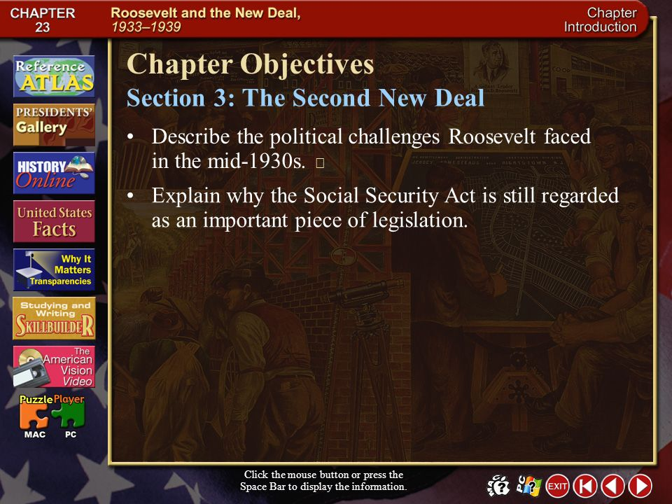 Chapter Objectives Section 3: The Second New Deal