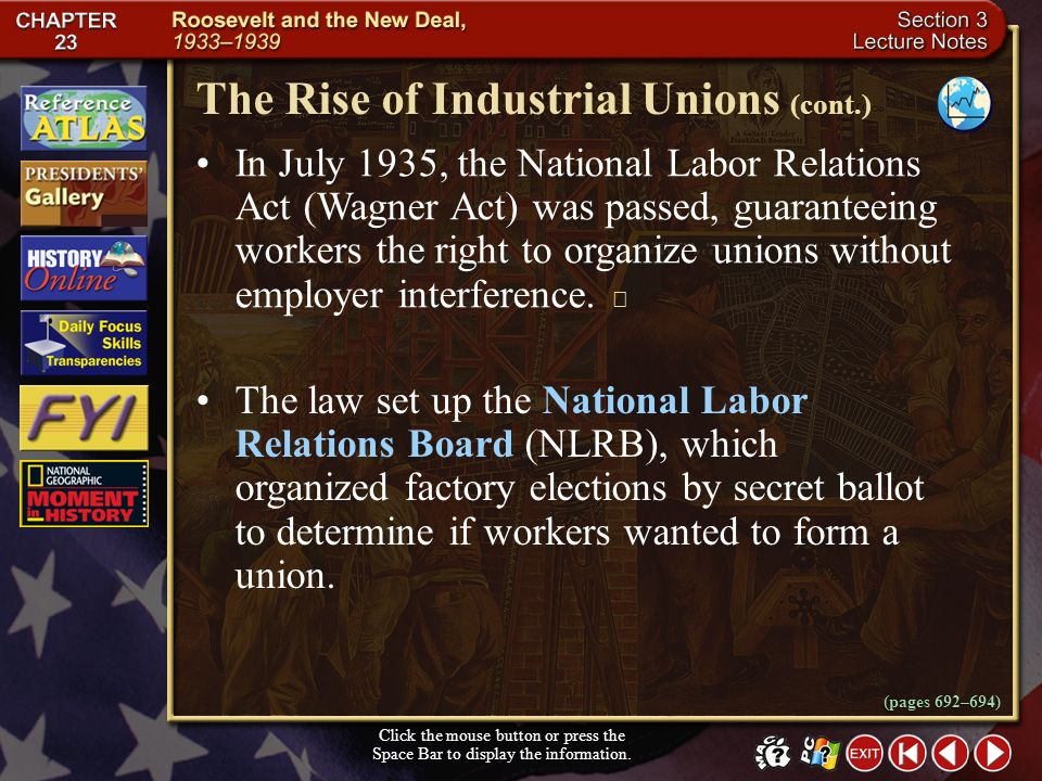The Rise of Industrial Unions (cont.)
